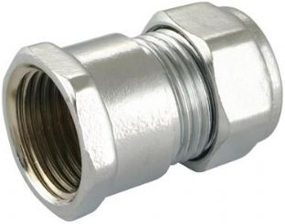 "15mm x 1/2"" compression chrome straight adaptor Female fitting (Bag of 10=£13.50)"